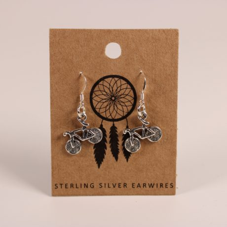 Bicycle Earrings ~ Sterling Silver Earwires (from Funky Sprout)