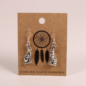 Cat Sitting Earrings (Sterling Silver)