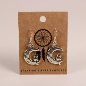 Cat on Moon Earrings (Sterling Silver)