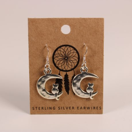 Cat on Moon Earrings