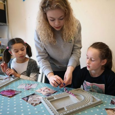 Becky Helping During a Jewellery Making Workshop