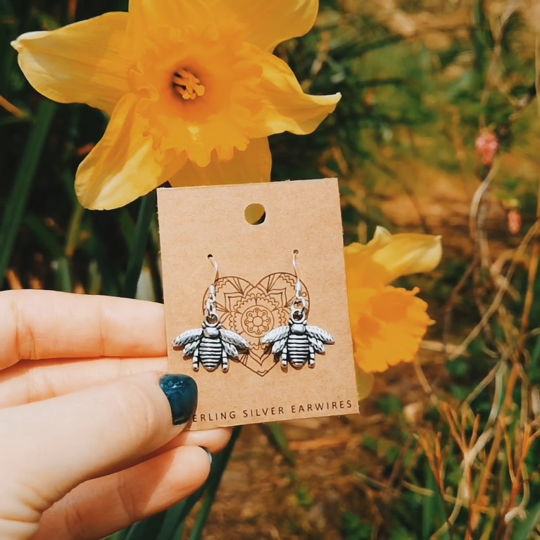 Bee Earrings with Sunflower